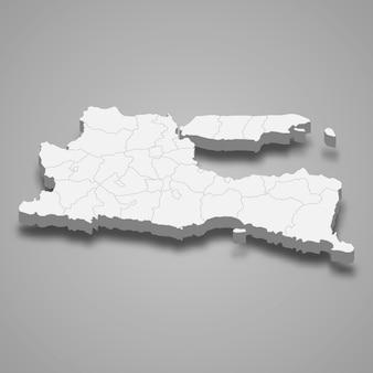 Carte isométrique de l'est de java est une province de l'indonésie