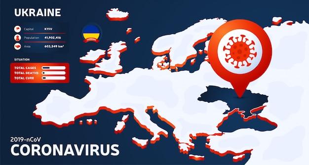 Carte isométrique de l'europe avec l'illustration de l'ukraine pays en surbrillance. statistiques sur les coronavirus. virus corona ncov chinois dangereux. infographie et informations sur le pays