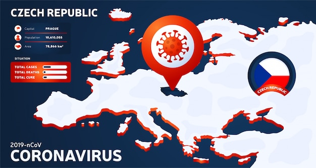 Carte isométrique de l'europe avec le pays en surbrillance illustration de la république tchèque. statistiques sur les coronavirus. virus corona ncov chinois dangereux. infographie et informations sur le pays.