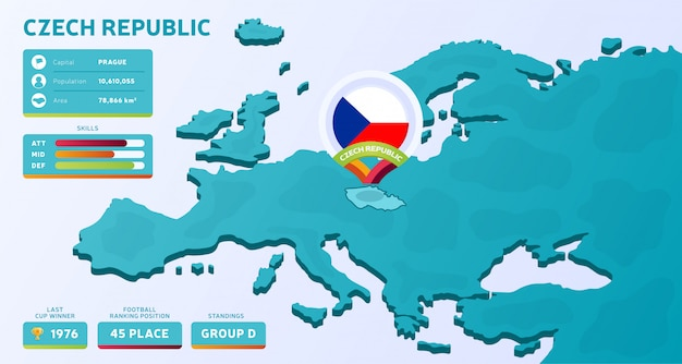 Carte isométrique de l'europe avec le pays en surbrillance république tchèque