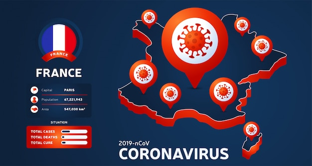 Carte isométrique de la france avec illustration de pays en surbrillance sur fond sombre. statistiques sur les coronavirus. virus corona ncov chinois dangereux. infographie et informations sur le pays.