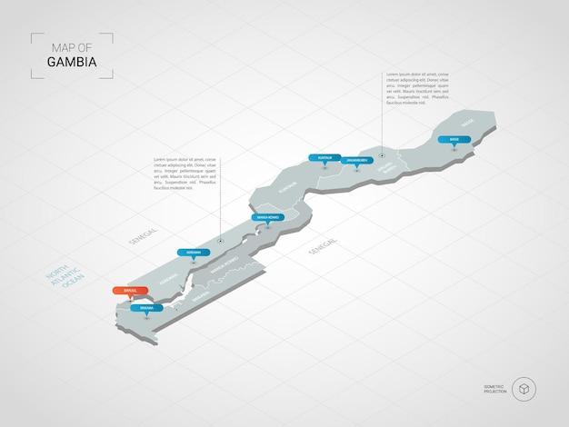 Carte isométrique de la gambie. illustration de carte stylisée avec villes, frontières, capitale, divisions administratives et marques de pointeur; fond dégradé avec grille.