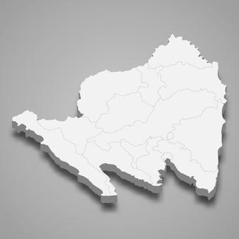 Carte isométrique de lampung est une province d'indonésie