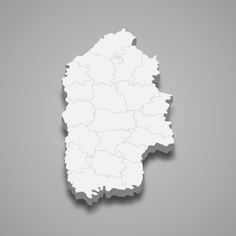 Carte isométrique de l'oblast de khmelnytskyi est une région d'ukraine