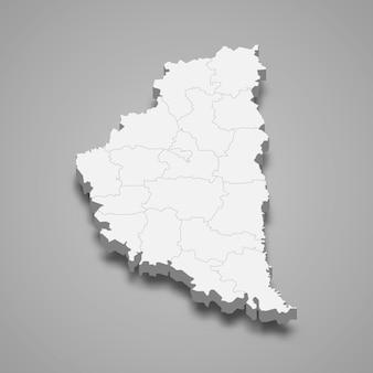 Carte isométrique de l'oblast de ternopil est une région de l'ukraine