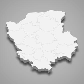 Carte isométrique de l'oblast de volyn est une région de l'ukraine