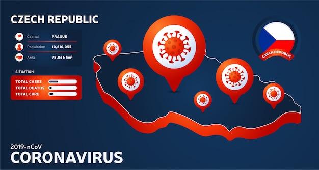 Carte isométrique de la république tchèque avec illustration de pays en surbrillance sur fond sombre. statistiques sur les coronavirus. virus corona ncov chinois dangereux. infographie et informations sur le pays.