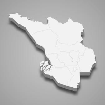 Carte isométrique de selangor est un état de malaisie
