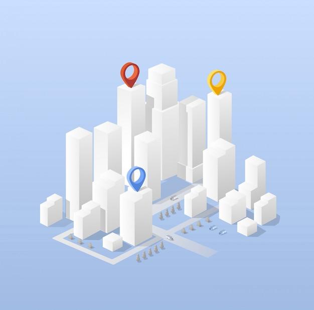Carte isométrique de la ville, comprenant des gratte-ciel de la ville