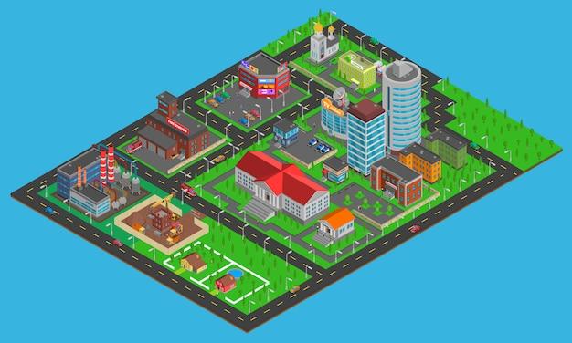 Carte isométrique de la ville moderne