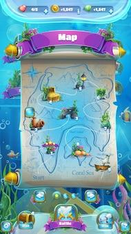 Carte avec itinéraire pour les jeux d'aventure