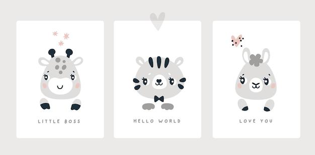 Carte jalon pour nouveau-né garçon ou fille baby shower animaux imprimer zebra tiger lama