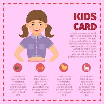 Carte de jardin d'enfants rose infographique
