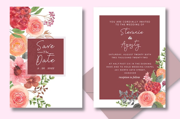 Carte de jeu d'invitation de mariage aquarelle avec fleur de dessin à la main et feuilles