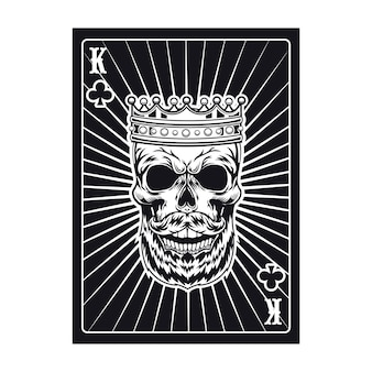Carte à jouer avec crâne agressif. roi noir. club