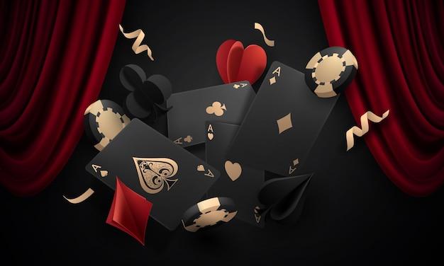 Carte à jouer. gagner des jetons de casino de main de poker volant