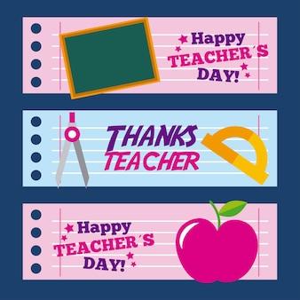 Carte de jour de l'enseignant heureux