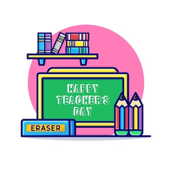Carte de jour des enseignants heureux avec stationnaire