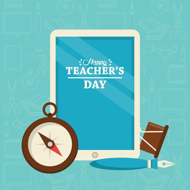 Carte de jour des enseignants heureux avec tablette électronique et chronomètre.