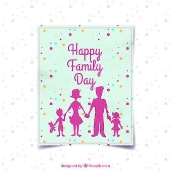 Carte jour de la famille avec des silhouettes