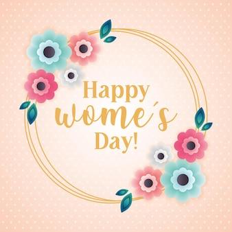 Carte de jour de femmes avec couronne de fleurs isolées. illustration