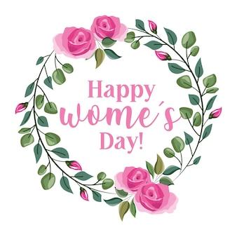 Carte de jour de femmes avec couronne de roses isolées. illustration