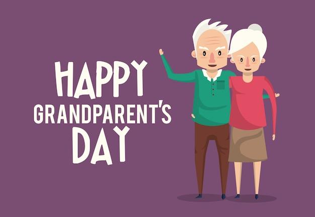 Carte de jour des grands-parents heureux avec des dessins animés