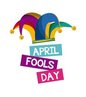 Carte de jour de poisson d'avril avec l'icône de chapeau de bouffon sur fond blanc. desing coloré. vecteur illustratio