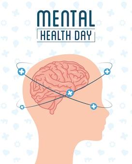 Carte de jour de la santé mentale avec profil de tête et cerveau