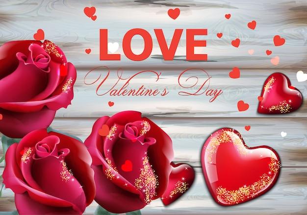 Carte de jour de valentine avec roses rouges et coeurs