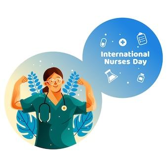 Carte de la journée internationale des infirmières avec infirmière forte