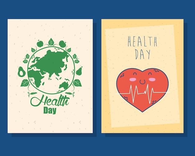 Carte de la journée internationale de la santé avec la planète terre et le coeur cardio