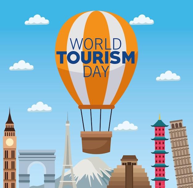 Carte de la journée mondiale du tourisme avec des ballons à air chaud et des monuments vector illustration design