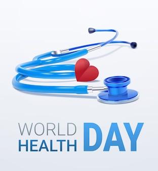 Carte de la journée mondiale de la santé avec coeur et stéthoscope