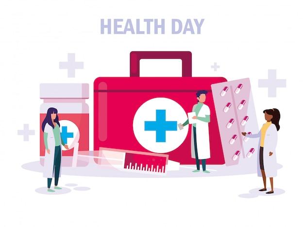 Carte de journée mondiale de la santé avec groupe de médecins et icônes