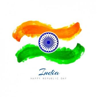 Carte de la journée de la république indienne fait à l'aquarelle