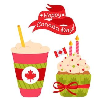 Carte de joyeuse fête du canada, dessin animé tasse de café canadien à emporter, drapeau de feuille d'érable cupcake et ruban adhésif