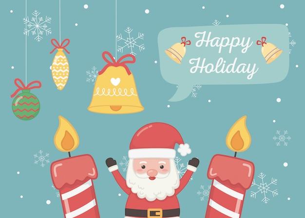 Carte de joyeuses fêtes santa bougies bell ball flocon de neige