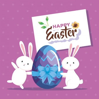 Carte de joyeuses pâques avec lapin et oeuf décoré
