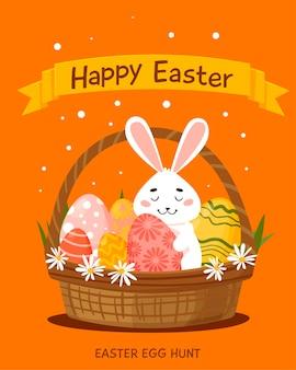 Carte de joyeuses pâques avec lapin et panier d'oeufs. dessin animé dessiné à la main.