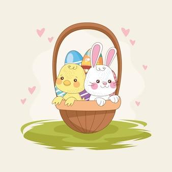 Carte de joyeuses pâques avec lapin et poussin dans le panier