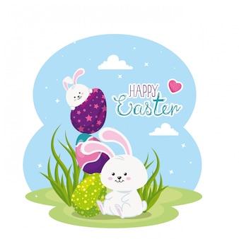 Carte de joyeuses pâques avec des lapins et des œufs dans le paysage