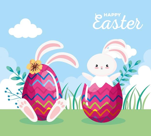 Carte de joyeuses pâques avec des lapins et des œufs décorés dans le paysage