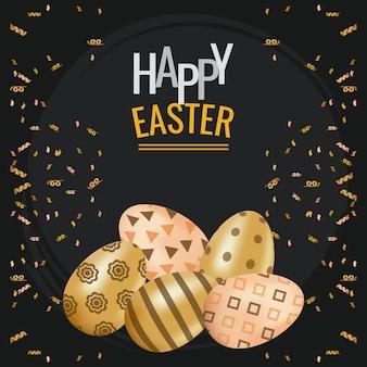 Carte de joyeuses pâques avec lettrage et oeufs d'or peints conception illustration vectorielle