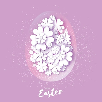 Carte de joyeuses pâques. oeuf découpé en papier, fleur.