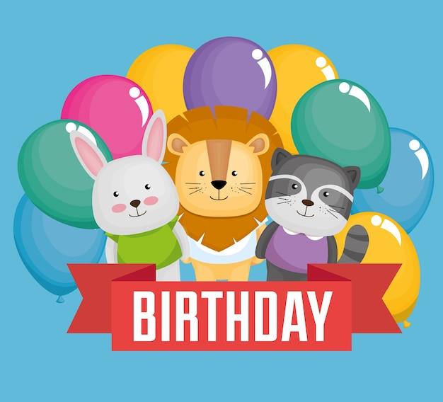 Carte de joyeux anniversaire avec des animaux marrants