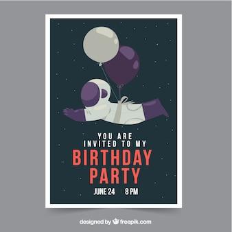 Carte de joyeux anniversaire avec astronaute et ballons dans un style plat