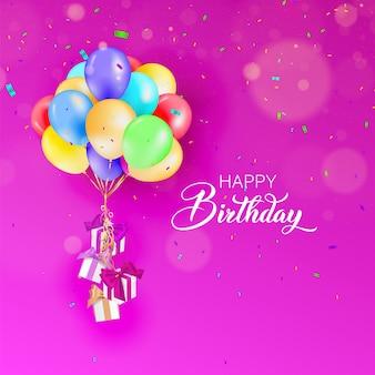 Carte de joyeux anniversaire ballons colorés, cadeaux et confettis.