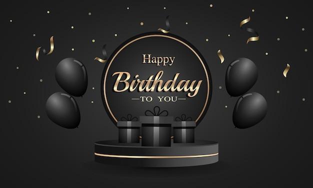 Carte de joyeux anniversaire avec des ballons de confettis et une boîte-cadeau