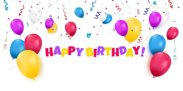 Carte de joyeux anniversaire avec des ballons de couleur et des confettis